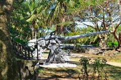 Older Japanese guns on the island of Saipan. Royalty Free Stock Image