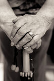 Older ladies hands on umbrella handle. Black and white. Stock Photography