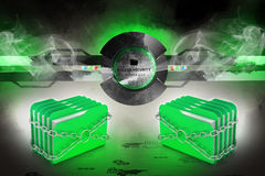 Older locked by chains. Folder locked by chains in color background Royalty Free Stock Photos