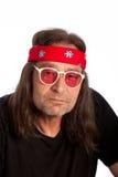 Older Long Hair Man with Headband Stock Photo
