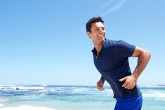 Older male fashion model enjoying the beach Royalty Free Stock Photo