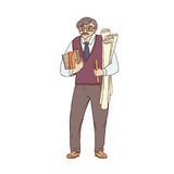 Older male pedagogue, professor or designer of books and drawings in his hands. A worker of the sphere of science and. Education. People of professions. Vector Royalty Free Stock Photos