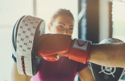 Older man boxing in gym. Stock Photography