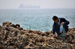 Older man foraging, Qingdao, China. An older man foraging for food on the seaside coastal town of Qingdao 青岛· known for it`s beautiful beaches and year Royalty Free Stock Photography