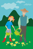 Older man and girl watering flowers Stock Photography
