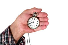 Older man holding a watch Stock Photography