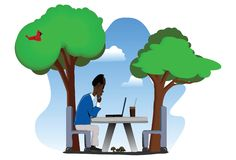 Older Man on Laptop Outdoors. Middle-aged man using a laptop on a table outdoors. EPS file contains the various elements in their own layers stock illustration