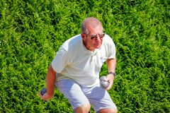 Free Older Man Plays Pétanque. Stock Photos - 172915933