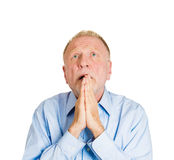 Older man pleading, begging up above Royalty Free Stock Photo