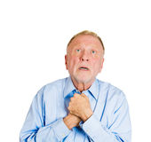 Older man pleading, begging up above Stock Photos