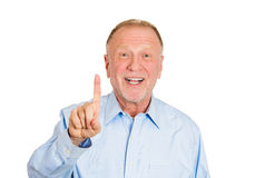 Older man pointing with one sign or up Stock Photography