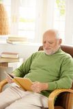 Older man relaxing at home, reading book. Older man sitting in armchair by window, relaxing at home, reading book, smiling Royalty Free Stock Image