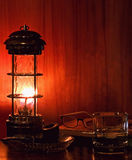 Older man's nightstand. Still-life of an older man's bedstand at night Royalty Free Stock Images