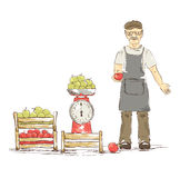 An older man sells apples. Funny illustration vector illustration