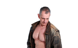 Older man shirtless Royalty Free Stock Photography