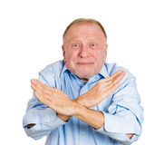 Older man showing X sign Stock Photography