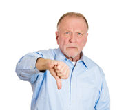 Older man with thumbs down Royalty Free Stock Photo