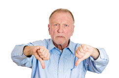 Older man, two thumbs down Royalty Free Stock Image