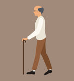 Older man white shirt walking stick Royalty Free Stock Photography