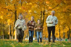 Older man and woman with grandchildren. Older men and women running with their grandchildren outdoors royalty free stock image