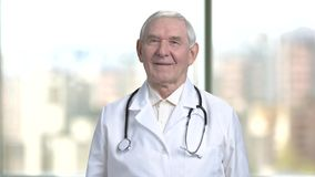 Older medical specialis portrait. Smiling doctor with stethoscope in blurred city view from windows background stock footage