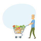 Older men with shopping cart. Full of healthy food. Senior buy vegetable on market. Grandpa buy products vector illustration