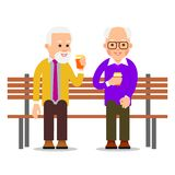 Older men sit on a bench and drink coffee. Old men spend leisure time in communication. Lifestyle of an elderly person. Illustration of people characters royalty free illustration