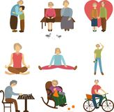 Older people active outdoors, love to the old age, the elderly sports, knitting and meeting grandson and grandmother. Flat icons. Vector illustration Royalty Free Stock Images