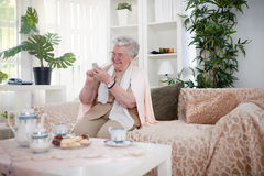 Older people can also keep up with modern technology Stock Photography