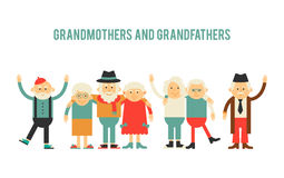 Older people in different costumes. Royalty Free Stock Photography