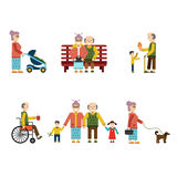 Older People In Different Situations Isolated  Vector Illustration Stock Photo