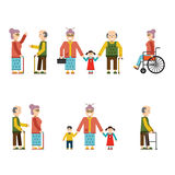 Older People In Different Situations Isolated  Vector Illustration Stock Photos