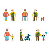 Older People In Different Situations Isolated Vector Illustration stock illustration