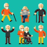 Older people. Elderly activity, elderly care. Comfort and communication in old age. Happy man read newspaper in armchair. Vector illustration Royalty Free Stock Photos