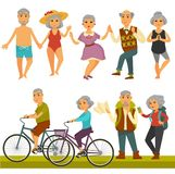 Older people fun leisure and sport activity life style. Vector flat icons of old man and woman travel on bicycle, relax on beach and dancing or outdoor hiking stock illustration