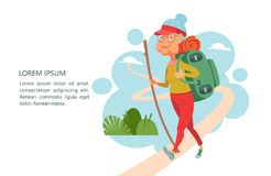 Older people lead an active lifestyle. Old people play sports. A. N elderly woman with a backpack and a stick goes on a camping trip. Vector illustration vector illustration