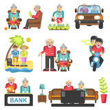 Older people life style vector flat icons. And life adventure and pleasure enjoyment. Grandfather and grandmother couple on travel, at home and garden Stock Images