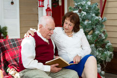 Older people are reading. Older people read a book on the sofa in the interior decoration in Christmas style Royalty Free Stock Images
