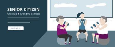 Older people or senior citizens raise dumbbells in fitness room vector illustration
