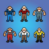Older people, senior pensioner pixel art avatars. Illustration stock illustration