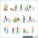 Older People on the street. Neighbors. Ctivities. Isolated vector illustrations. Flat icon set Royalty Free Stock Photography