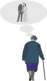 Older people. Think and dream happy moments royalty free illustration