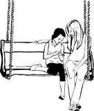 Older sister to her younger sister on a wooden swing. Sketch of an older sister to her younger sister on a wooden swing Royalty Free Stock Images