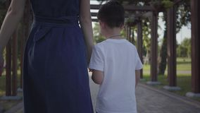 Older sister walking with younger brother holding hands in the summer park. Leisure outdoors. Friendly relations between. Older sister walking with younger stock video footage