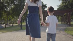 Older sister walking with younger brother holding hands in the summer park. Leisure outdoors. Friendly relations between. Older sister walking with younger stock video