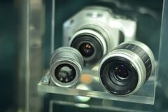 Older SLR cameras and lenses.  Royalty Free Stock Image