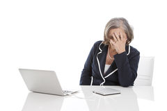Older stressed woman - elder woman isolaed on white background royalty free stock image