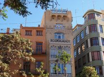 Older Style Apartment Buildings, Valencia, Spain Stock Photos