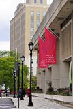 White Plains Public Library red pennant banners at building