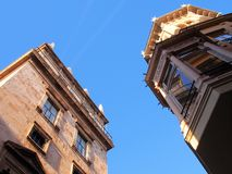 Older Style Buildings, Valencia. Two historical buildings in Valencias Old Town, reflections in windows Stock Image
